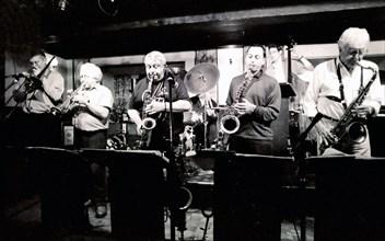 Mark Nightingale, Henry Lowther, Alex Garnett and Alan Stuart, Watermill, Dorking, Surrey, 2000. Artist: Brian O'Connor