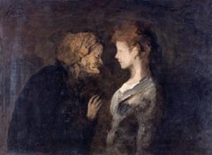 'The confidence', (The Secret), 1828-1879. Artist: Honore Daumier.