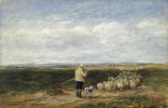 'The shepherd:Return of the flock', 1850. Artist: David Cox the elder.