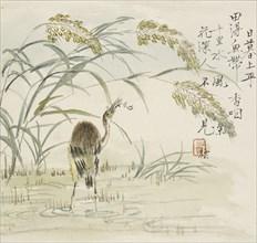 An egret eating a fish, 1857. Artist: Jin Yuan.