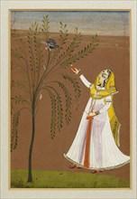 Lady feeding a bird in a tree, 19th century. Artist: Unknown.