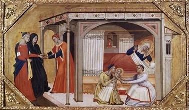 The Birth of the Virgin Mary, c1365-1370. Artists: Master of Ashmolean Predella, Andrea di Cione.
