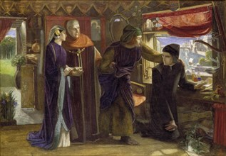 Dante drawing an Angel on the Anniversary of Beatrice's Death, 1853. Artist: Dante Gabriel Rossetti.