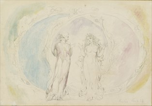 Beatrice and Dante in Gemini, amid the Spheres of Flame, 1825-1827. Artist: William Blake.