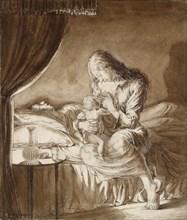 Night Scene-Woman feeding her Child, c1900s. Artist: Maxwell Gordon Lightfoot.