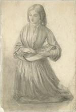 Elizabeth Siddal playing a Stringed Instrument, c1852. Artist: Dante Gabriel Rossetti.
