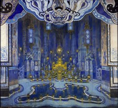 Design for the Decor of 'La Salle du Trone' in 'Le Rossignol', 1914. Artist: Alexandre Benois.