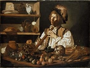 Interior with a young Man holding a Recorder, c1610- 1621. Artist: Cecco del Caravaggio.