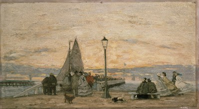The Jetty at Trouville: Sunset, 1862. Artist: Eugene Louis Boudin.