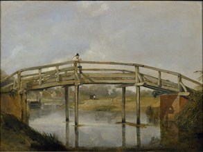 Landscape with a River and Bridge, c1830. Artist: Unknown.