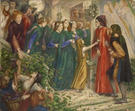 Beatrice at a marriage Feast denying her Salutation to Dante, 1851-1855. Artist: Dante Gabriel Rossetti.