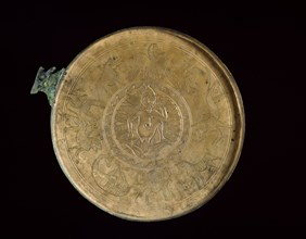 Cast bronze mirror-cover with bust of a woman in relief, 1st century BC - 1st century AD. Artist: Unknown.