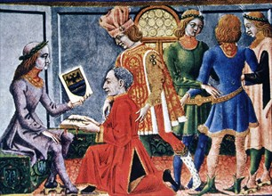Emperor Frederick III receiving from the astronomer G. Bianchini the book 'Tabulae Astrologiae', ?