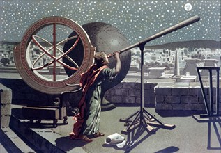 Hipparchus, Greek astronomer studying the stars at the observatory of Alexandria, lithograph, 1865.