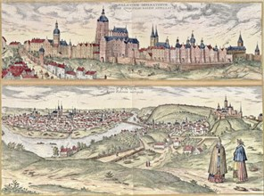 View of Prague, representing the Imperial Palace or Hradschin in the upper part and the town with?