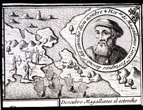 Magellan discovers the Strait', engraving from 1726, Ferdinand Magellan (1480-1521), Portuguese n?