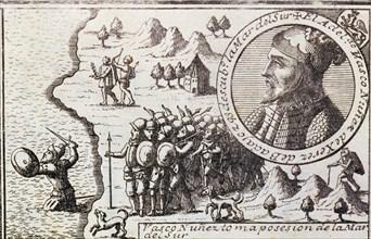 'Vasco Nunez takes possession of the South Sea', engraving from 1726, Vasco Nunez de Balboa, (14?