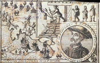 'Juan Ponce fights with the Florida people' and 'they are going to be killed', engraving from 17?