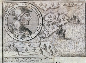 'Francisco Pizarro and his companions are on the Gorgona island', engraving from 1726, with the ?