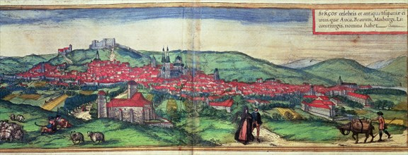 View of the city of Burgos. Engraving in the work 'Civitates Orbis Terrarrum', 1576, by George Br?