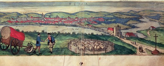View of the city of Ecija and the Genil river. Engraving in the work 'Civitates Orbis Terrarum', ?