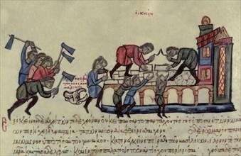 Bovine pest that devastated the empire during the reign of Romanus I, miniature in 'Scylitzes Mat?