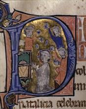 San Esteban (? - 32-37), deacon and martyr. 'Stoning of St. Stephen' Illuminated capital letter o?
