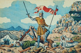 Pelayo, Don (- 737), King of Asturias from 718 to 73, battle of Covadonga, Pelayo king's troops d?