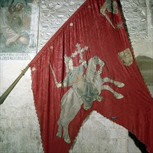 San Isidoro (560-636), Archbishop of Seville, detail of the banner of the Baeza of his equestrian?