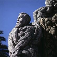 Monument in La Coruna dedicated  to Manuel Curros Enriquez (1851-1908), Spanish poet.
