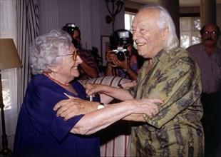 Rafael Alberti (1902-1999) and Rosa, Chacel (1898-1994), 1991 photo.