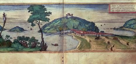 View of the city of San Sebastian. Engraving in 'Civitates Orbis Terrarum', 1576 by George Braun ?