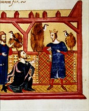 Interview in Alcaniz of the King James I the Conqueror (1213 - 1276) with Hugo Forcalquer and Bla?