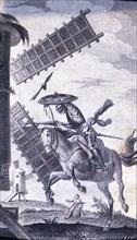 Engraving in an episode of Don Quixote, in 'El Ingenioso Hidalgo Don Quijote de la Mancha' (The I?