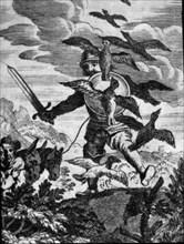Engraving in an episode of Don Quixote, in 'Vida y hechos del Ingenioso Caballero Don Quijote de ?