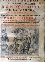 Cover of the work 'Vida y hechos del Ingenioso Caballero Don Quijote de la Mancha' (Life and fact?