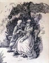 La Celestina, 1883, engraving with Calixto and Melibea under the tree.