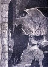 La Celestina, 1883, engraving with the Celestina making a spell.