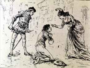 Engraving, a poor before a lady in an edition of 'La Comedie Espagnole' by Lope de Rueda, 1883.