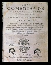 Cover 'Doce comedias' (Twelve comedies) by Lope de Vega, published in 1624 in Pamplona.