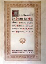 Cover 'Cancionero' (Song book) by Juan de la Encina, facsimile reproduction, 1928.