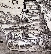 Engraving of the ascension of a procession to Mount Randa in Majorca, in the work 'Ars Inventiva ?
