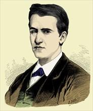 Thomas Alva Edison (1847-1931), American inventor,engraving 1887.