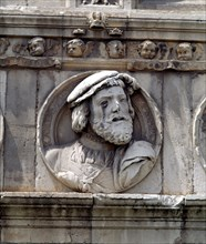 Medallion in stone on the facade of the old Hospital of San Marcos representing King Charles I of?