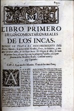 Royal Commentaries of Garcilaso de la Vega, first page of Book First.