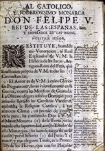 First page of the book 'Comentarios Reales' (Royal Commentaries), edition of 1723 with a dedicato?