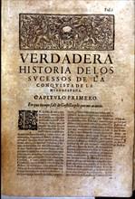 Front page of the book 'Historia verdadera de la conquista de la Nueva España' (True story of the?