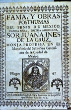 Cover of the work 'Fama y obras póstumas' (Fame and posthumous works) by Sor Juana Ines de la Cru?