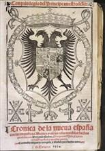 Cover of the work 'Crónica de la Nueva España' (Chronicle of New Spain) by Francisco Lopez de Gom?