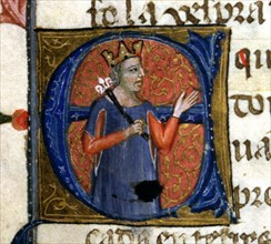 An illuminated initial in a page of the Chronicle of James I or 'Llibre dels feyts del Rey en Jac?